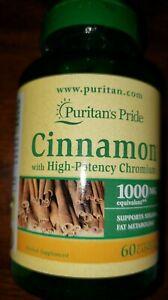 Puritan's Pride Cinnamon with High Potency Chromium 1000 mgs - 60 Capsules New..