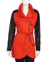 NWT French Connection Classic Trench Coat / Jacket, Red & Black, Small, MSRP$250
