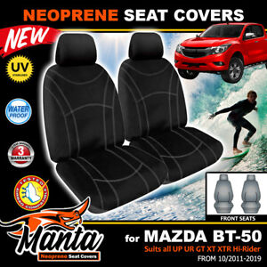 Manta Neoprene FRONT Black Seat Covers Mazda BT-50 UP UR XTR GT 6/2011-6/2020