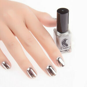 6ml Silver Mirror Effect Nail Art Polish Varnish & Base Coat Metallic Chrome