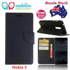 Black Mooncase Stand TPU in Wallet Case Cover For Nokia 5 Free Screen Protector