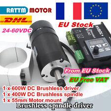 【FR】400W Brushless Spindle Motor ER8&600W Driver NVBDL 60V DC&55mm Clamp CNC Kit