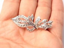 Vintage Czech ornate silver floral pin brooch clear glass rhinestones