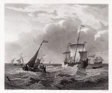 "Willem van de Velde 1800s Engraving ""Boats on a Choppy Sea"" Framed SIGNED COA"