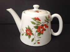Apilco Porcelain Floral Red Wild Rose Teapot Flowers Green Leaves~France Tea Pot