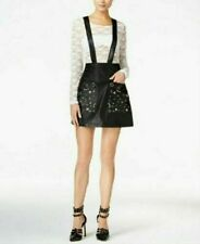 Guess Rona Faux-Leather Suspender Skirt~~~~Size 2~~~~ORG. $89~~~Jet Black~~~~NWT
