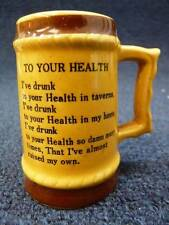 "Vintage Japan Beer Mug Shot Glass To Your Health 3 1/4"" (357)"