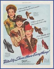Vintage 1941 VITALITY Shoes Women's Janet Imogene Francine Gloria 40's Print Ad