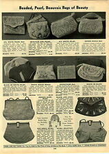 1933 PAPER AD Beaded Pearl Beauvais Hand Bag Purse Rhinestone Hand Made French