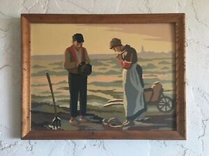 """Vintage Mid-Century Paint By Number """"The Angelus"""" In Rustic Wood Frame 17X13"""