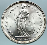 1939 SWITZERLAND - SILVER 2 Francs Coin HELVETIA Symbolizes SWISS Nation i82781