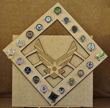 * Custom * USAF Logo 20-Challenge Coin display / holder - wall mount