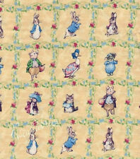 Beatrix Potter Fabric Benjamin Bunny - Yellow Lattice Baby Nursery Squares - FQ