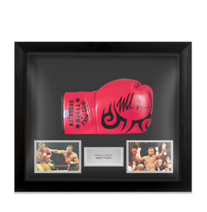 Framed Mike Tyson Signed Boxing Glove - Red, Tattoo, Iron Mike Tyson Brooklyn -