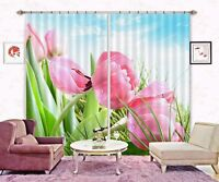 3D Pink Tulips Blockout Photo Curtain Printing Curtains Drapes Fabric Window AU