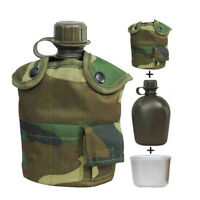 3 Piece Military Canteen Kit For Outdoor Camping Hiking w/ Cover & Aluminum Cup