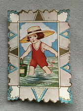 Antique Seaside Beach Girl Vintage Valentines Card, Used