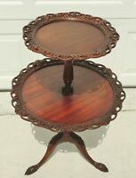 Antique Mahogany Carved Flowers Two Tier Dumbwaiter Pie Crust Accent Table