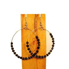 "2"" Single Hoop Black Gold Boho Style Handmade Seed Bead Round Earrings"