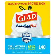 Glad Tall Kitchen Drawstring Trash Bags, ForceFlexPlus 13 Gallon White Trash Bag