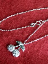 "14K Solid White Gold Dangling Diamond Cherries Pendant 16"" Chain"