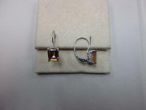 14KT white gold sunrise mystic topaz earrings, with orange, yellow, purple color