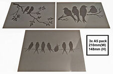 Shabby Chic Stencil pack A5 (210x148mm) Birds in trees selection Plastic sheet