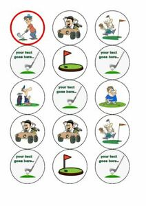 GOLFING FUNNY X 15 EDIBLE PRECUT CUPCAKE TOPPERS - PREMIUM ICING OR WAFER CARD