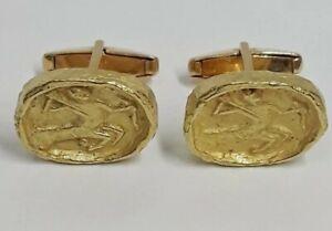 Tiffany Modernist Hand Hammered 18K Greco Roman Warrior Centaur Cufflinks 14.2g