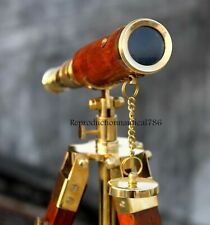 Nautical Brass Antique Telescope With Wooden Tripod Collectible Marine Scope