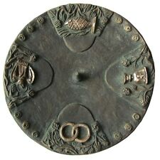 Taufkerzenleuchter 4 Symbole Bronze grün 15 cm baptism candle holder