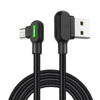 Right Angle 90 Degree  Micro USB LED Fast Charging Sync Data Cable For Android