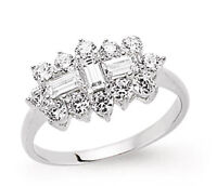 Boat Ring Cluster Engagement Ring 2 Carat Ring Platinum Plated Sterling Silver