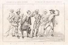 1840  Maschere italiane, 1840 bulino Pantalone Brighella
