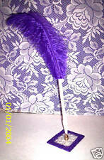 DEEP PURPLE FEATHER PEN W/DP PURPLE GLASS GLITTER BASE