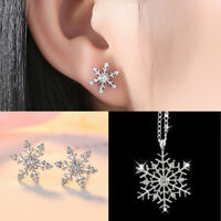 Fashion Frozen Snowflake Crystal Pendant Necklace Earrings Jewelry Set Xmas Gift