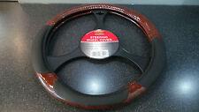 Car Steering Wheel Cover/Glove Universal, Soft Grip Walnut/Black Leather Effect