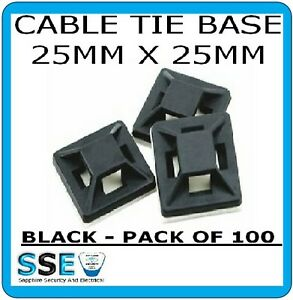 Cable Tie Base Self Adhesive -  25mm x 25mm Pack of 100 ( Black )