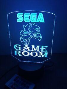 Sega Sonic LED Night Light Touch Table Desk Lamp Rgb Remote Game Room