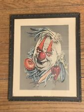 VTG 1950s Vegetable Clown Print Cydney Grossman Scary Framed Wall Art Creepy