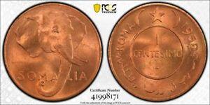 1950 Somalia 1 Centesimo PCGS MS65 Red Lot#G694 Gem BU! Elephant