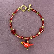 3D Red Bird Bracelet Cardinal Totem Attraction Passion Hearts Flowers Gold Bead