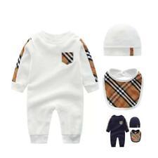 Burberry Blue check print pocket romper Infant baby boy clothes newborn