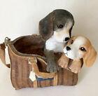 Adorable Puppy Dogs Tote Bag Purse Decorative Figurine Brown