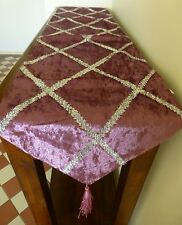 Lavender pink velveteen and silver table runner extra long 2 metres