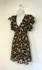 "Miso ""Tonal Butterfly"" Brown A-Line Dress (UK Size 12)"