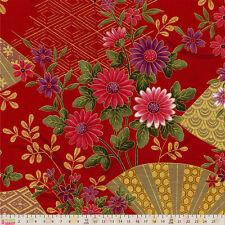 Cotton Fabric  Fat Quarter Japanese Import - Japenese Metallics - Red Fans