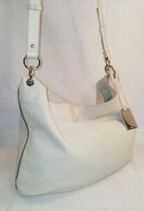 FURLA  Ivory Leather Hobo Crossbody Shoulder Handbag Italy