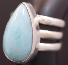 Handmade Sterling Silver .925 3x Band Teardrop Genuine Larimar Dome Ring. Sz 6.5