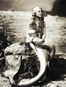 HOLLYWOOD FANTASY MERMAID w. BABY MERBABY SEA NYMPH *CANVAS* PHOTO ART PRINT